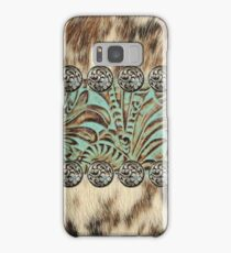 Rustic brown cowhide teal western country tooled leather  Samsung Galaxy Case/Skin