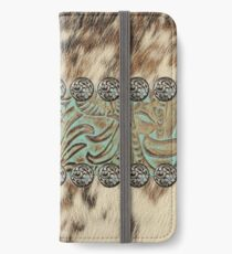Rustic brown cowhide teal western country tooled leather  iPhone Wallet/Case/Skin