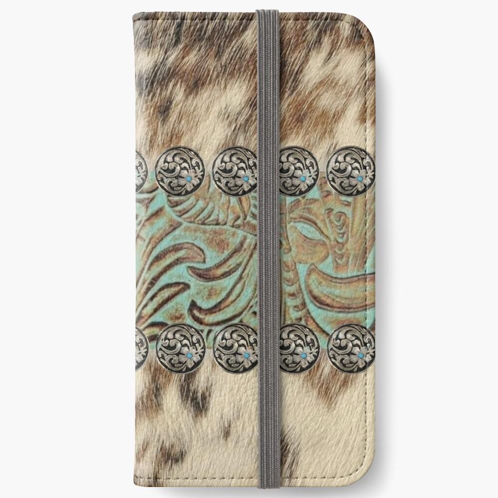 Rustic brown cowhide teal western country tooled leather  iPhone Wallet