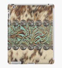 Rustikales braunes rindsleder-westliches Land des Kuhrindleders iPad-Hülle & Skin