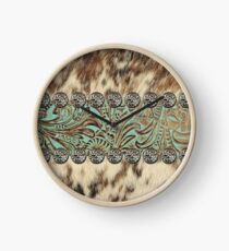 Rustic brown cowhide teal western country tooled leather  Clock