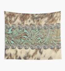 Rustic brown cowhide teal western country tooled leather  Wall Tapestry