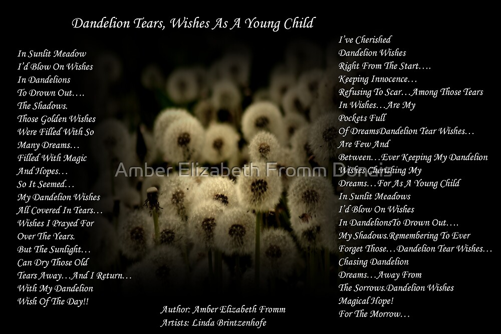 Dandelion Tear~ Wishes Version 1 by Amber Elizabeth Fromm Donais