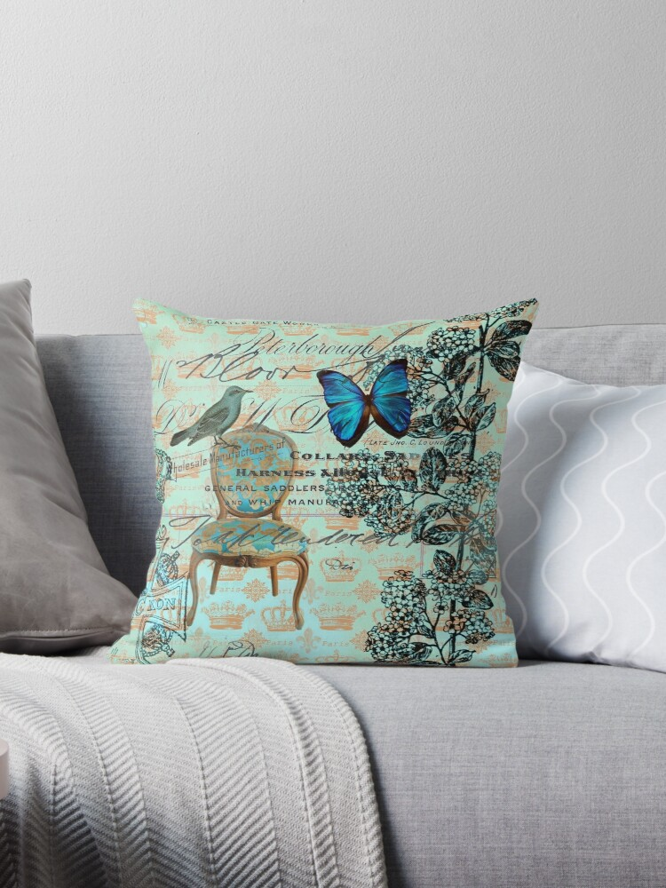 cottage chic scripts butterfly mint bird botanical french country  by lfang77