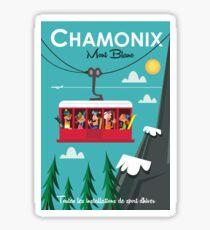 Chamonix Mont blanc ski poster Sticker