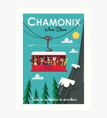 Lámina artística Cartel de esquí Chamonix Mont Blanc