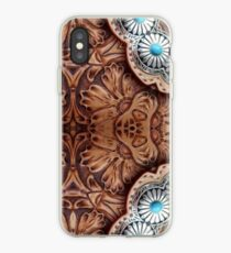 turquoise brown cowboy tribal Western country Tooled Leather iPhone Case