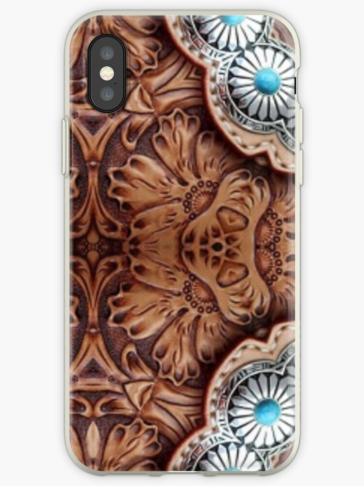 finest selection a5cfa 77386 'turquoise brown cowboy tribal Western country Tooled Leather' iPhone Case  by lfang77