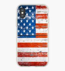 Primitive Barn Wood Grain grunge USA American Flag  iPhone Case