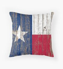 Primitive Woodgrain Western Country  Lone Star Flag Of Texas Throw Pillow
