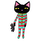 Sleepy Black Cat in Striped Pajamas with Plush Toy on Christmas Eve by ssStephG