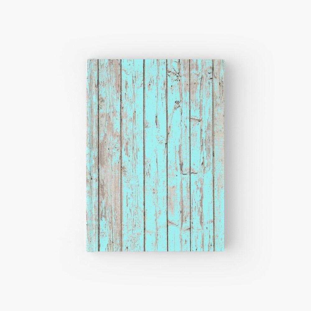 Distressed Shabby Chic Pastell Aqua Blau Holzmaserung Notizbuch