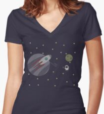 Space Problem Women's Fitted V-Neck T-Shirt