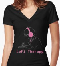 LoFi Therapy Women's Fitted V-Neck T-Shirt