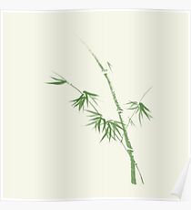 Bamboo stalk with leaves delicate Japanese Zen art design green on natural ivory background art print Poster