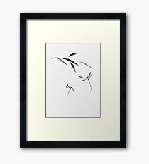 Dragonflies and bamboo leaves Japanese Zen Sumi-e painting on white rice paper art print Framed Print