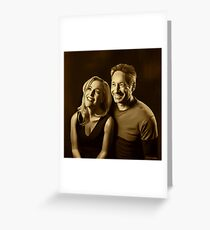 A successful old married couple - sepia panting Greeting Card