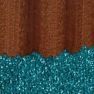 Aqua blue sparkles broken rustic brown wood by PLdesign