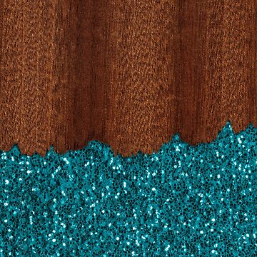 Aqua blue sparkles glitter rustic brown wood by PLdesign
