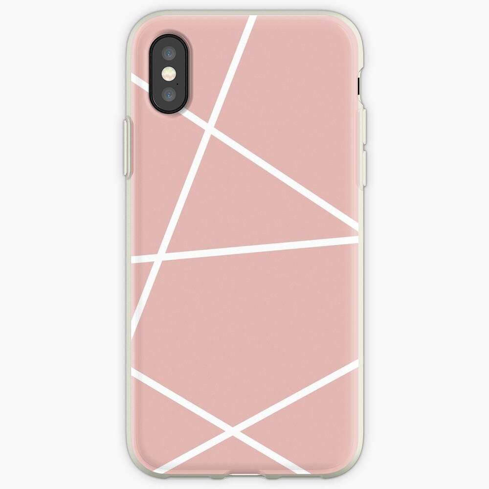 minimale Chic Blush rosa weiße Linien rosa geometrisches Muster iPhone-Hülle & Cover