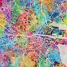 Dublin Ireland City Map by Michael Tompsett
