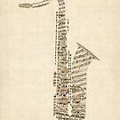 Saxophone Old Sheet Music by Michael Tompsett