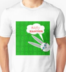 Easter Bunny. Greeting Card with  White Easter Rabbit. Unisex T-Shirt