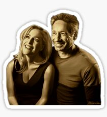 A successful old married couple - white/transparent background painting Sticker