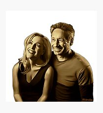 A successful old married couple - white/transparent background painting Photographic Print