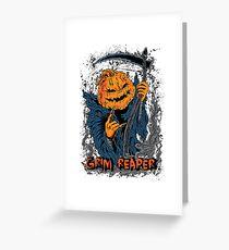 Jack O Lantern Pumpkin Grim Reaper Halloween Greeting Card