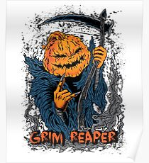 Jack O Lantern Pumpkin Grim Reaper Halloween Poster