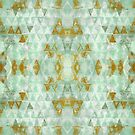 Turquoise and Gold Abstract Triangles  by ibadishi