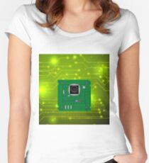 Modern Computer Technology Green Background. Circuit Board Pattern. High Tech Printed Circuit Board Women's Fitted Scoop T-Shirt