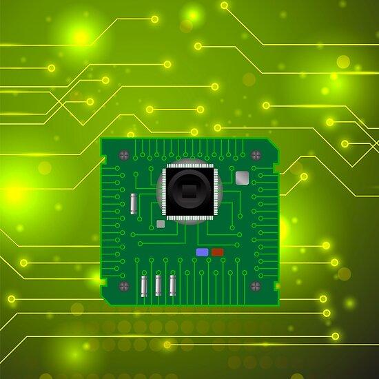 Modern Computer Technology Green Background. Circuit Board Pattern ...
