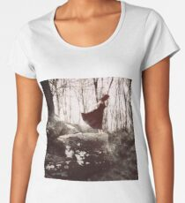 Exploring the Abyss - a young woman standing at the edge of a rock over an abyss Women's Premium T-Shirt