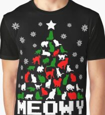Meowy Christmas Cat Tree Graphic T-Shirt