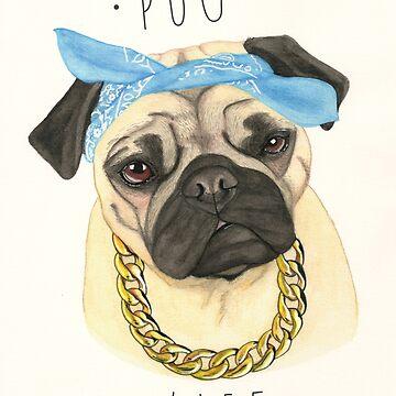 Vida Pug de PaperTigressArt