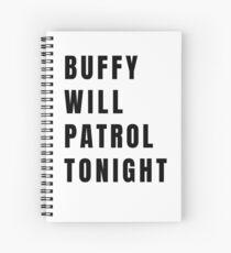 Buffy on Patrol - Plain Black Spiral Notebook