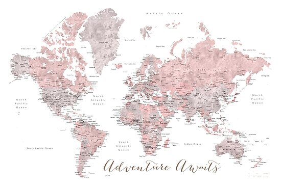 In staubigem Pink und Grau erwartet Sie ein Weltkartenabenteuer von blursbyai
