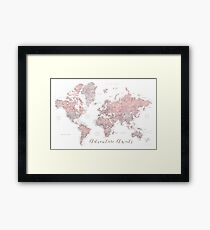 World map adventure awaits in dusty pink and grey Framed Print