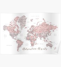 World map adventure awaits in dusty pink and grey Poster