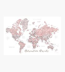 World map adventure awaits in dusty pink and grey Photographic Print