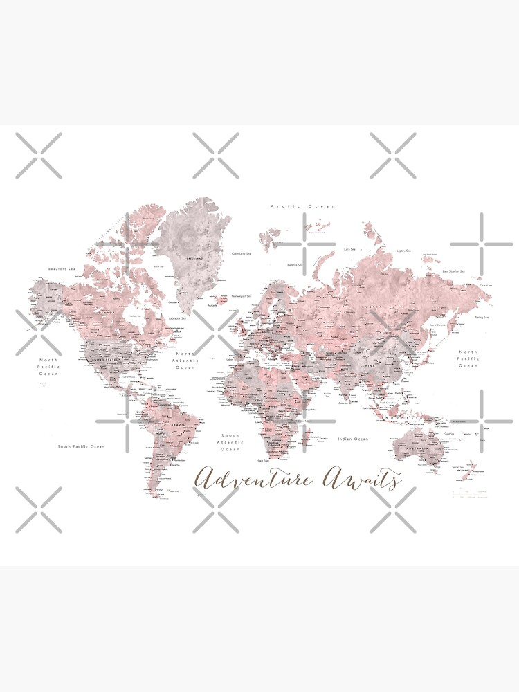 World map adventure awaits in dusty pink and grey by blursbyai