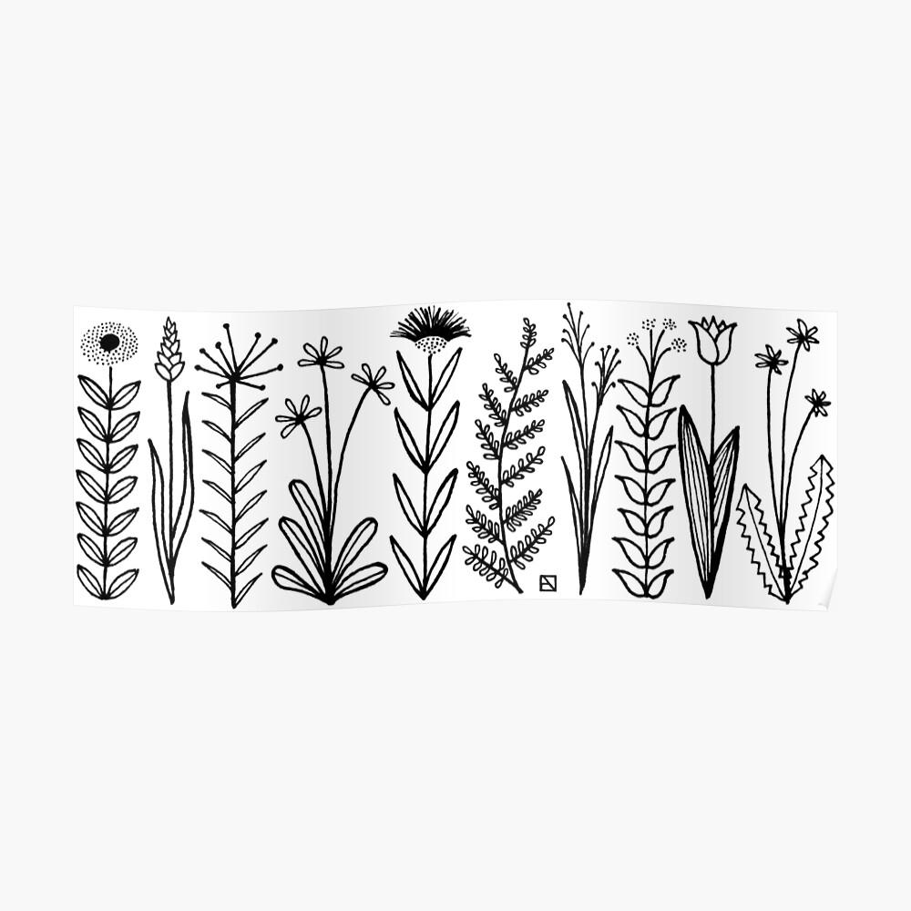 Blumenmuster scharz/weiß / flower pattern Poster