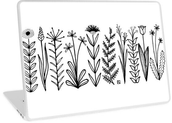 Blumenmuster scharz/weiß / flower pattern von Emily Claire Völker