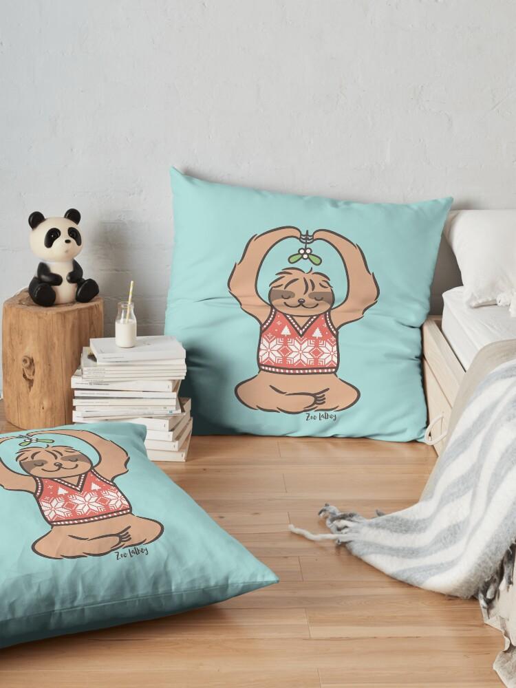 Alternate view of Christmas Kiss Sloth with Mistletoe Floor Pillow