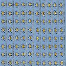 Yellow Sunshade on distressed blue background by HEVIFineart