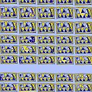 Gridlock abstract  blue and yellow by HEVIFineart