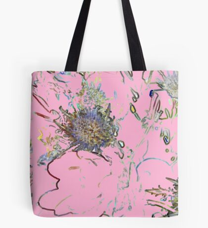 Retro floral pattern in pink Tote Bag