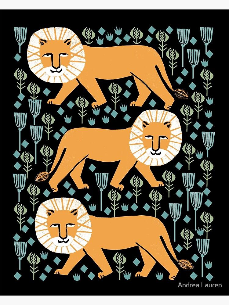 Lion safari printmaking screen print art minimal kids art by andrea lauren by papersparrow